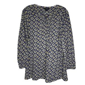 Lucky Brand Blouse Top Career Dressy Button XL